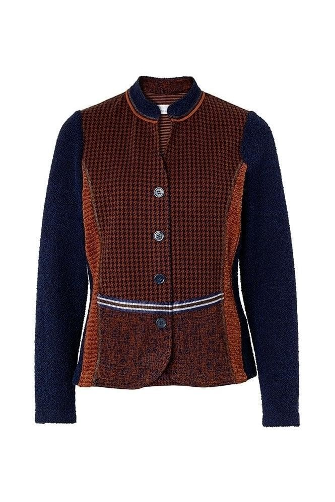 Just White Hound Tooth Print Jacket - Navy/Brown - 43204
