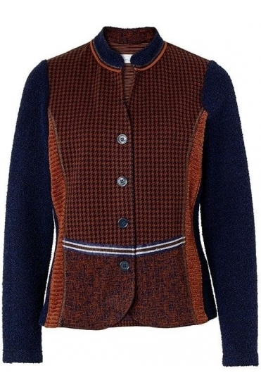 Hound Tooth Print Jacket - Navy/Brown - 43204