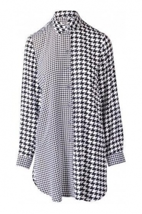 Long-line Hound Tooth Print Blouse - Black/White - 43367