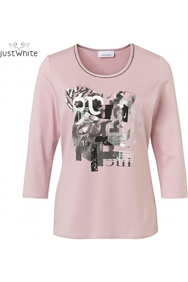 Printed 3/4 Sleeve Top - White/Rose - 43718-310