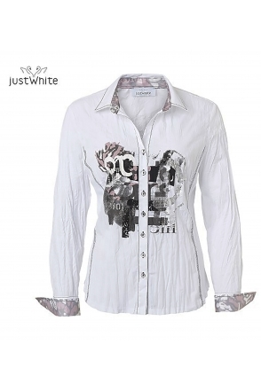 Printed Detail Shirt - White/Grey - 43715-010