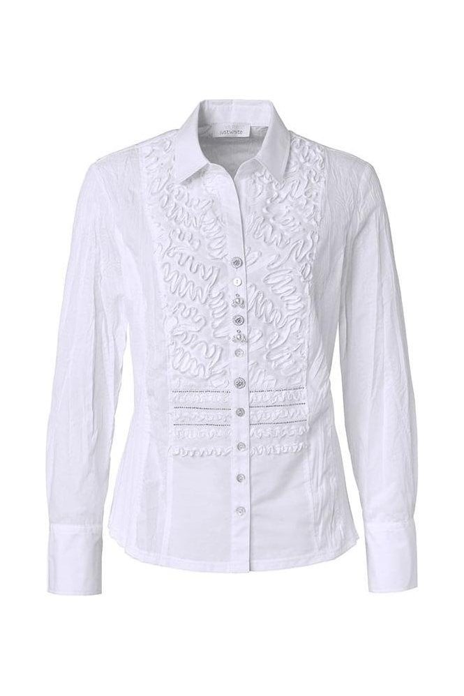 Just White Ribbon 3D Tailored Shirt - White - 43380