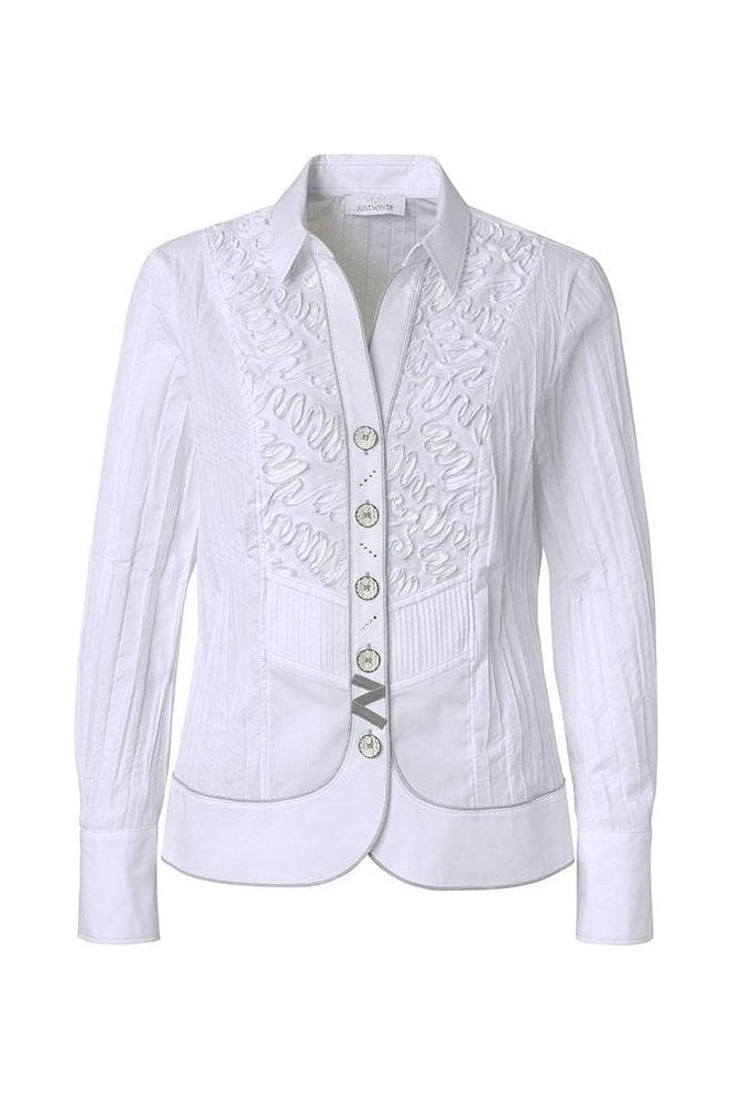 Just White Ribbon 3D Tailored Shirt - White - 43410