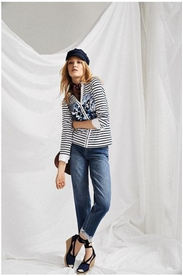 Stripe & Graphic Embellished Print Mock Shirt - Blue/White - 42247