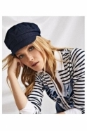 Just White Stripe & Graphic Embellished Print Mock Shirt - Blue/White - 42247
