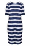 Just White Stripe Textured Dress - 41260