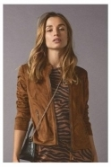 Just White Suedette Short Length Jacket - Brown - 43073