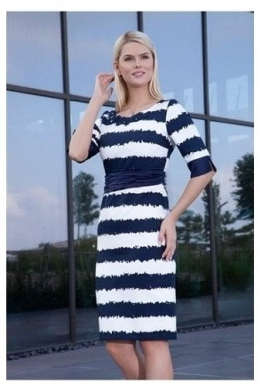 Ruched Detail Stripe Dress - Navy/White - 2993