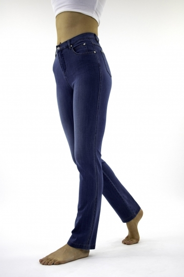 4 Way Stretch Slim Straight Leg Jeans - Denim - 2408-184