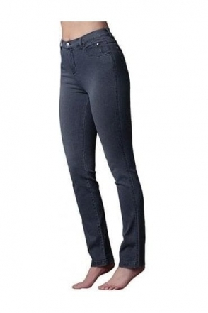 4 Way Stretch Slim Straight Leg Jeans - Grey - 2408-182