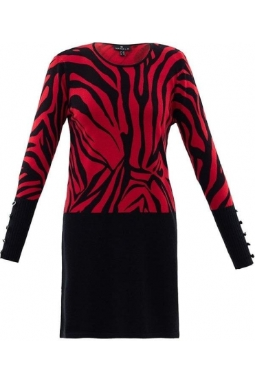 Abstract Print Fine Knit Dress - Black/Red - 5799-109
