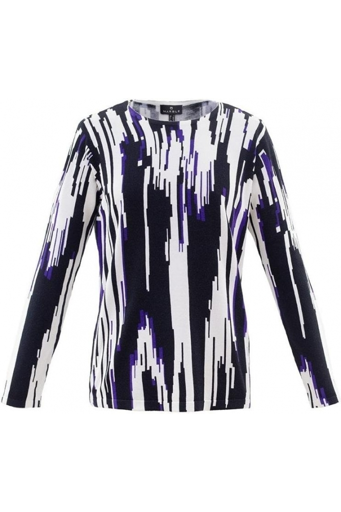 Marble Abstract Print Fine Knit Jumper - Purple - 5794-187