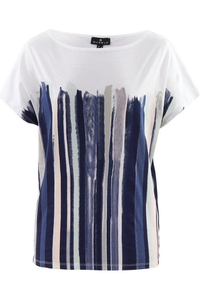 Marble Abstract Print Top  - Pale Pink - 6079-120