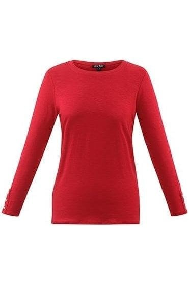 Basic Long Sleeve Top - Red - 5527-109
