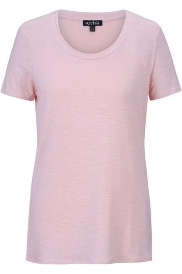 Basic Round Neckline Top - Powder Pink - 5708-120