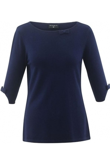Bow Sleeve Detail Jumper - Navy - 5601-103