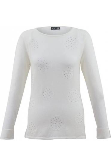 Circle Diamanté Detail Jumper - Ivory - 5396-104