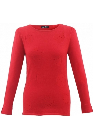 Circle Diamanté Detail Jumper - Red - 5396-109