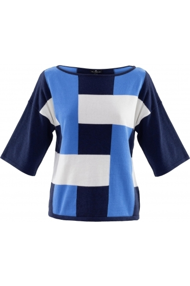 Colour Block Sweater - Mid Blue - 6112-190