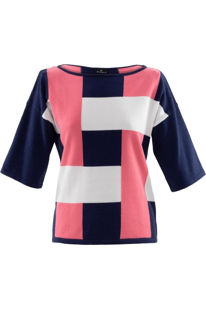 Marble Colour Block Sweater - Watermelon - 6112-135