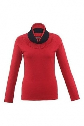 Cowl Neck Jumper - Red - 5419-109