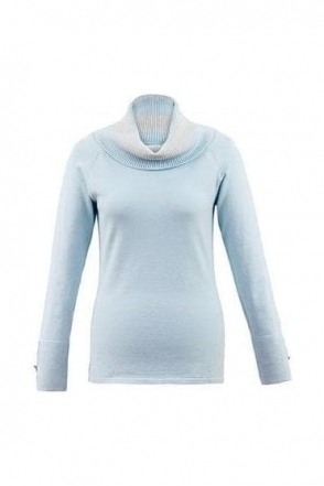 Cowl Neck Metallic Detail Jumper - Ice Blue - 5419-167