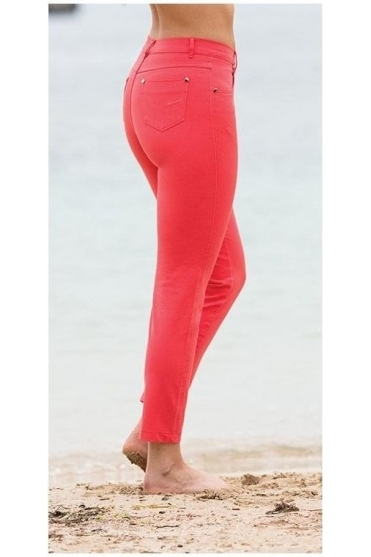 Cropped Soft Skinny Leg Jeans - Coral - 2400-172