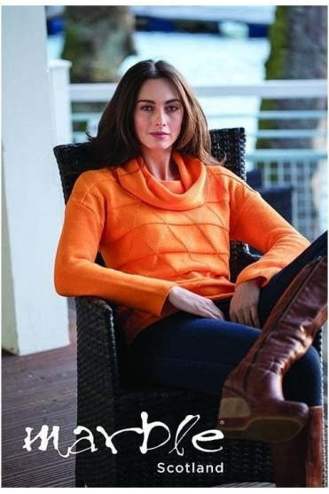 Diamond Embossed Medium Knit Jumper - Orange - 5496-179