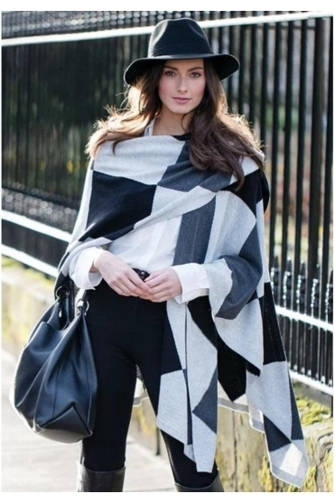 Diamond Print Cape - Silver - 5499-106
