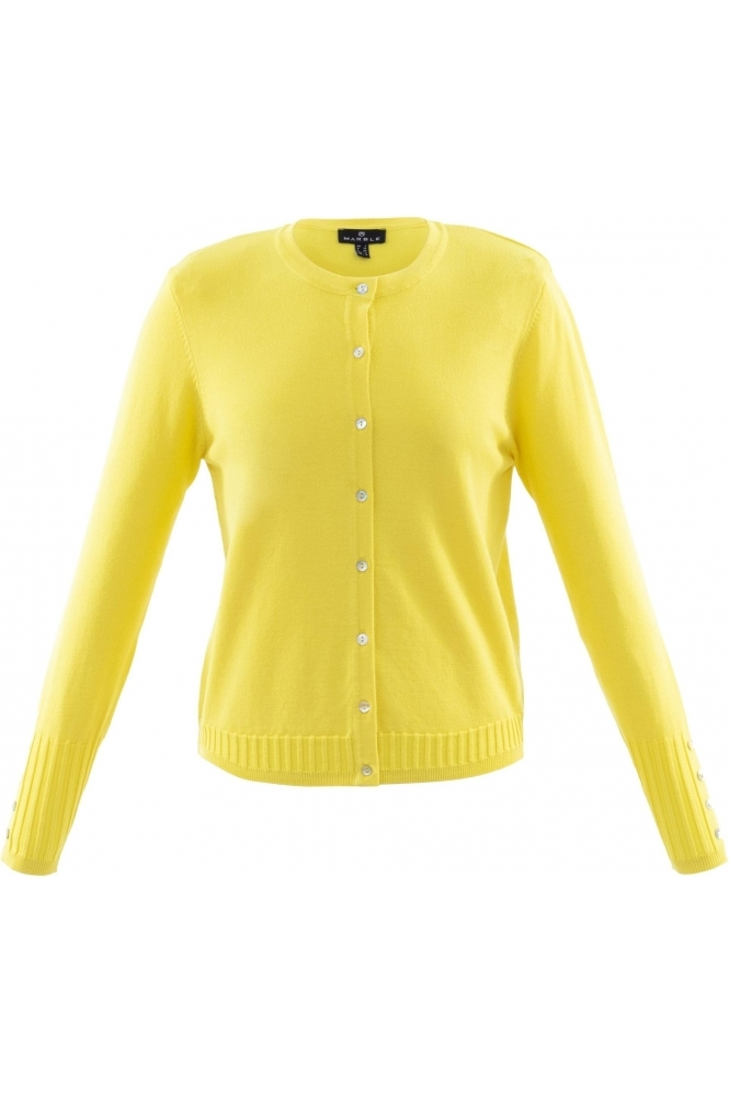 Marble Fine Knit Ribbed Detail Cardigan - Yellow - 6012-152