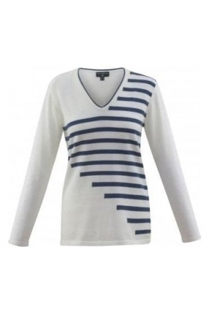 Fine Knit Stripe Detail Jumper - Denim - 5674-173