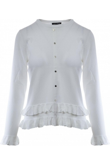 Frill Detail Jumper - White - 5201-102