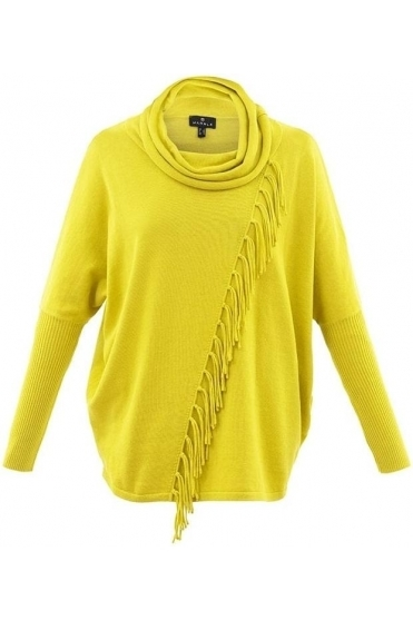 Fringe Cowl Neck Asymmetric Jumper - Chartreuse Yellow - 5874-189