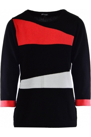 Geometric Print Jumper (Black/Coral) - 5288-172