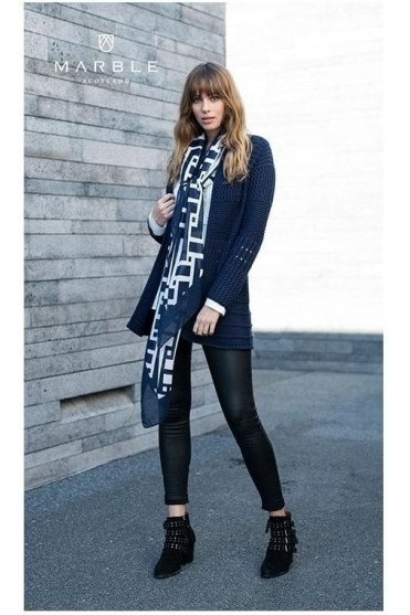 Geometric Print Soft Touch Scarf - Navy/White - 5964-103
