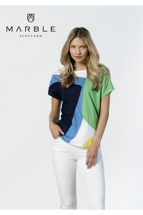 Geometric Print Top  - Green - 6077-124
