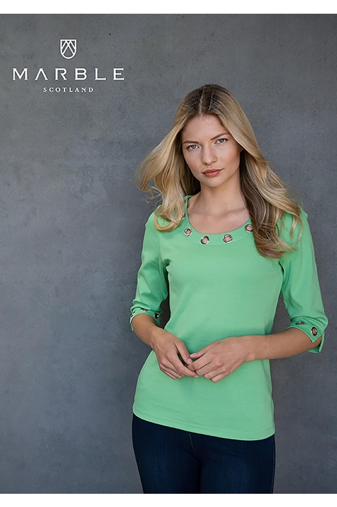 Marble Keyhole Detail Top - Green - 6057-124