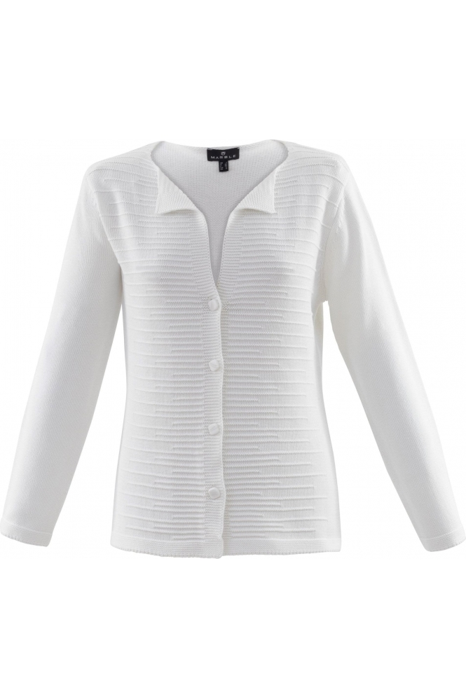 Marble Lapel Detail Medium Knit Cardigan - White - 6122-102