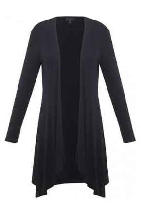 Long Line Drape Cardigan - Black - 5707-101