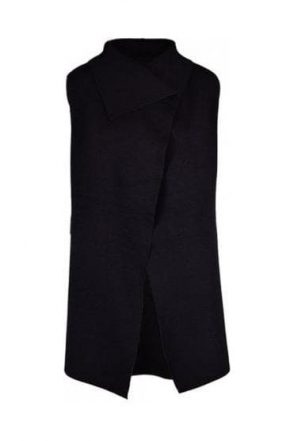 Medium Knit Drape Gilet - Black - 5397-101
