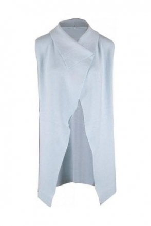 Medium Knit Drape Gilet - Ice Blue - 5397-167