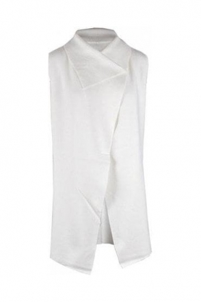 Medium Knit Drape Gilet - Ivory - 5397-104