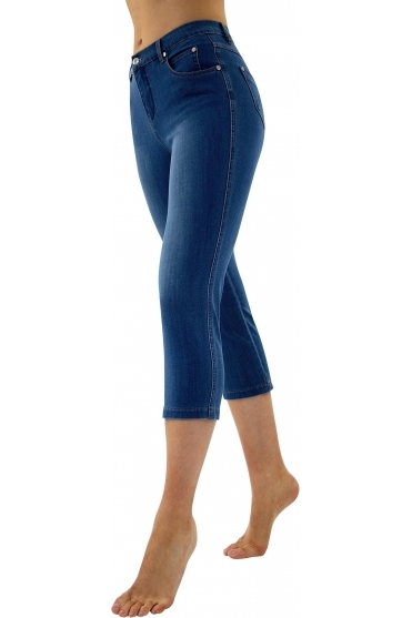 Mid Calf Cropped Soft Skinny Leg Jeans - Denim Blue - 2410-184
