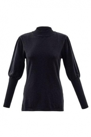 Puff Sleeve High Neck Jumper - Black - 5813-101