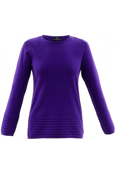 Ribbed Detail Jumper - Purple - 5893-187