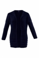 Marble Ribbed Detail Medium Knit Cardigan - Navy - 5922-103