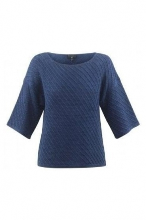 Ribbed Detail Medium Knit Jumper - Denim - 5617-173