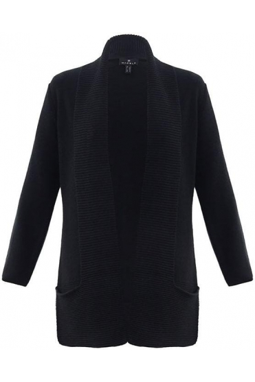 Ribbed Pocket Detail Cardigan - Black - 5925-101