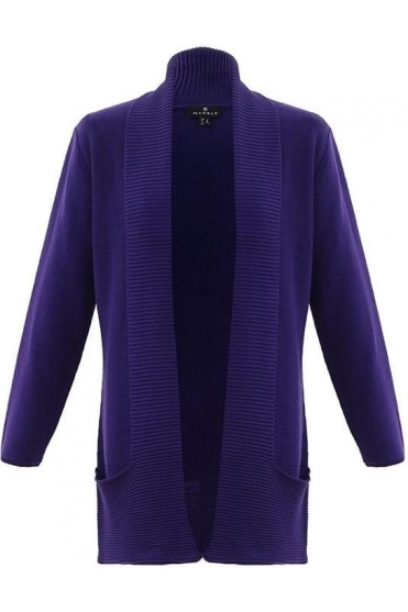 Ribbed Pocket Detail Cardigan - Purple - 5925-187