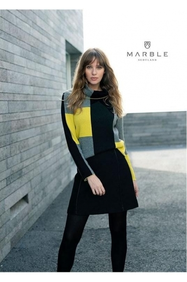 Roll Neck Colour Block Jumper - Chartreuse Yellow/Black - 5904-189